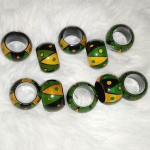 Other - 10 Wooden Hand Painted Napkin Rings Made in India